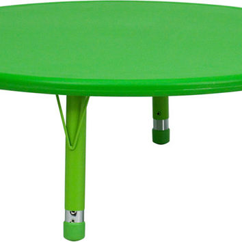 45'' Round Height Adjustable Green Plastic Activity Table