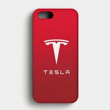 Tesla Motors Brushed Metal Logo iPhone SE Case