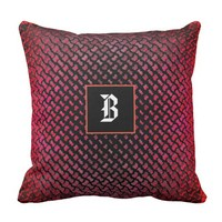 """Vibrant colorful dots with black base """"B"""" monogram Throw Pillow"""