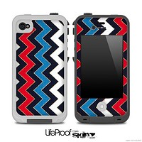 Red White & Blue V4 Chevron Pattern Skin for the iPhone 5 or 4/4s LifeProof Case