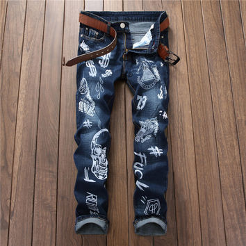 Hot Sale Print Alphabet Slim Blue Denim Pants [7417640003]