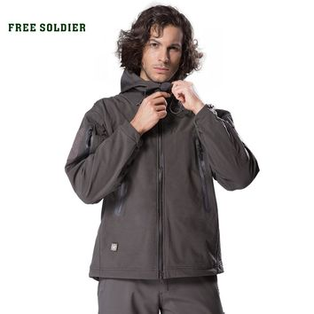 FREE SOLDIER outdoor sport camping tactical military jacket men's clothing hiking softshell coat windproof warm cloth US size
