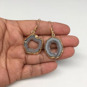 """8.9 grams, 1.8"""" Agate Druzy Slice Geode Gold Plated Earrings from Brazil, BE116"""