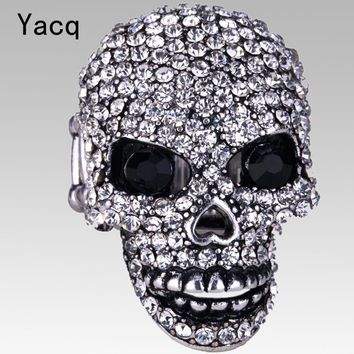YACQ Skull Stretch Ring Women Girls Biker Bling Gothic Jewelry Gifts for Her Wife Mom Girlfriend Gold Silver Color Dropshipping