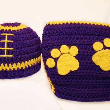 Lsu Football Hat and diaper cover set by BitofWhimsyCrochet