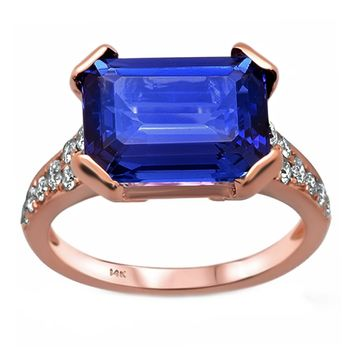 5.75tcw Emerald-Cut Tanzanite with Diamonds in 14K Rose Gold Cocktail Ring