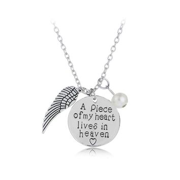 A Piece Of My Heart Is In Heaven Guardian Angel Wing Sympathy Charm Necklace