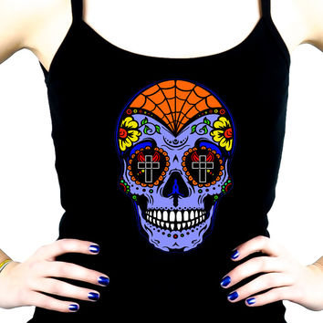 "Blue Sugar Skull Spaghetti Strap Shirt ""Dia De Los Muertos"" Day of the Dead"