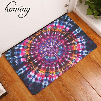 homing in front of door floor hallway carpets light flannel hippie Indian mandala colorful geometric flower mats home decor rugs