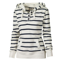 Women Black White Striped Hoodies Pullover Loose Cotton Hooded Sport Sweatshirts
