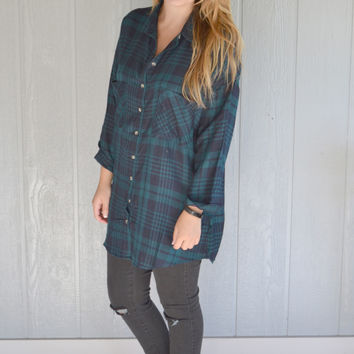 Don't You Want It Oversized Plaid Top