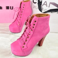 Stylish Women's High Block Thick Heels Lace-up Shoes Square Toe Ankle Boots 1nV