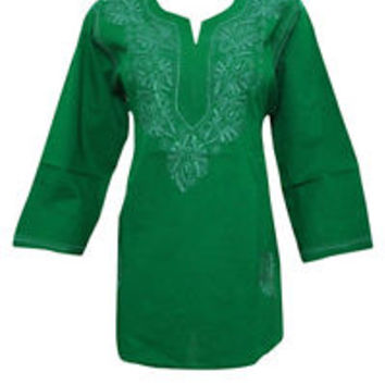 WOMEN'S TUNIC KURTI GREEN FLORAL EMBROIDERED COTTON INDIAN KURTI DRESS S