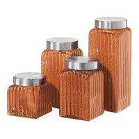 A.M.B. Furniture & Design :: **  Clearance ** :: Amber 4 Piece Ribbed Square Glass Canisters with Brushed Stainless Steel Finish Lids Set