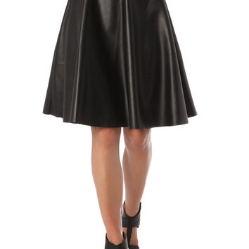Q2 A Line Midi Skirt In Leather-look Fabric