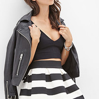FOREVER 21 Striped Pleated Skirt Black/Cream