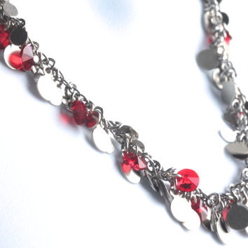 Confetti Necklace with Red Swarovski crystals