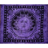 "Celestial Tapestry-Bedspread-Throw-Coverlet-Versatile-84"" x 96""-Purple"