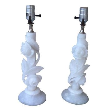 Pre-owned Vintage White Marble/Onyx Table Lamps - A Pair