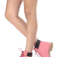 Fuchsia Faux Leather Lace Up Hiker Ankle Boots