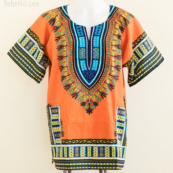 Size L African Dashiki Kaftan Hippie Festival Colorful Shirt (Orange)