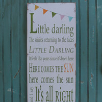 Little Darling with Bunting Typography Word by barnowlprimitives