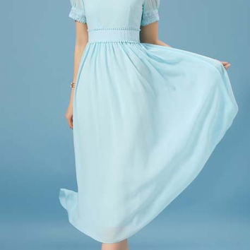Pale Blue Embroidered Vintage Chiffon Dress