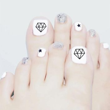 Fashion white+silver flash powder sequins 24PCS/set summer toes finished fake nails,full Nail tips patch,girl toe art tool bride