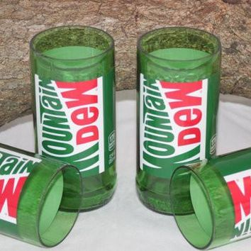 Drinking Glasses from Recycled Mountain Dew Bottles, 8 oz, Unique Glassware, Unique Gift, ONE glass
