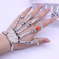 2017 Silver Punk Rock Skeleton Skull Hand Bone Bracelet Goth Skeleton Bracelet For Women Pulse Red Beadsras Free Shipping