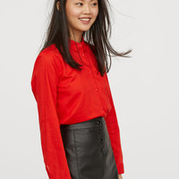 Cotton Shirt - Bright red - Ladies | H&M US