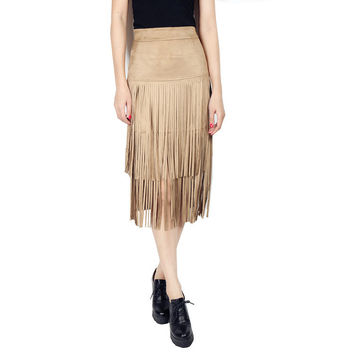 2016 Winter New Arrival Women European Style Fashion Empire Waist Suede Solid Color Casual Irregular Fringed Hip Skirt Plus Size