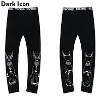 Cat Printed Men's Leggings Elastic Waist Lovely Printed Leggings Men