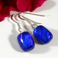 Glowing Blue Dichroic Glass Earrings, Fused Glass Dangle