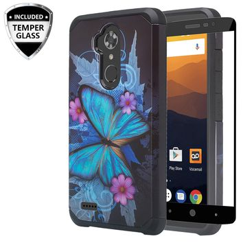 ZTE Max XL, ZTE Blade Max 3, ZTE Max Blue Case, [Include Temper Glass Screen Protector] Slim Hybrid Dual Layer [Shock Resistant] Case for Max XL - Blue Butterfly