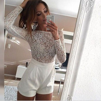 Perspective lace long-sleeved Rompers - White