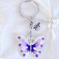 In Stock Butterfly Hope Keychain Purple Enamel Rhinestone Butterfly Purple Rhinestone Key Ring Holder Lupus Fibromyalgia Gifts For Her Charm