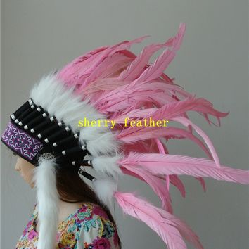 light pink Indian style feather headdress chief indian style war bonnet party supply halloween feather hat