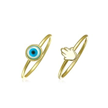 Evil Eye Hamsa Hand Knuckle Midi Ring 14K Gold Plated Sterling Silver