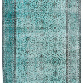 TURQUOISE OVERDYED VINTAGE RUG 4'11'' X 8'3'' FT 151 X 251 CM