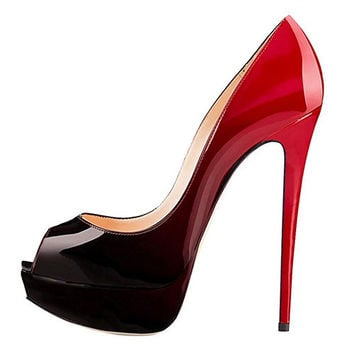 Women Pumps Women's Extreme Sexy High Heel Fashion Peep Toe Pumps Handmade For Wedding Party Dress Stiletto Slip Plus Size 34-46