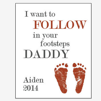 Personalized Father's Day gift footprint art print for Dad from child or baby