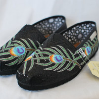 Peacock feathers on black sparkle TOMS by blakebarash on Etsy