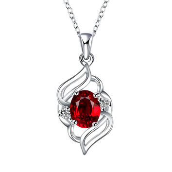 Curved Abstract Petite Ruby Pendant Necklace