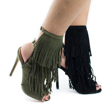 Patina2 Olive F-Suede by Liliana, Peep Toe Layered Fringe Mule Stiletto Heel Bootie