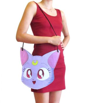 Sailor Moon Diana Kitty Cat Face Shaped Vinyl Cross Body Bag