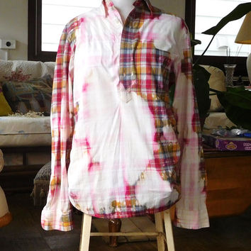Bleached Distressed Size Small Shirt Cowgirl Glam Style Red Plaid Shirt Boho Hippie Clothes American Hippie Blouse Long Sleeve