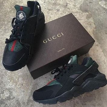 Trendsetter Nike Gucci Drops the Air Huarache Ultra Sports shoes Black&green