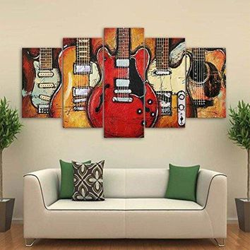Premium Quality Canvas Printed Wall Art Poster 5 Pieces / 5 Pannel Wall Decor Epic Guitars Painting Landscape Home Decor Pictures - With Wooden Frame