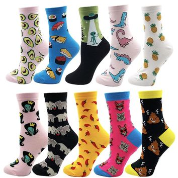 VPM Women Crew Socks Colorful Cotton Harajuku Cute Food Animal Cat Dog Alien Space Funny Sock for Girl Christmas Gift 5 Pair/Lot
